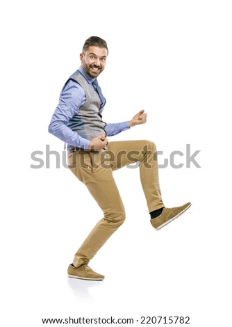 Studio shot of modern hipster businessman pretends to play the guitar, isolated on white background - stock photo