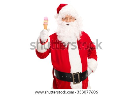 Studio shot of Santa Claus holding an ice cream cone and looking at the camera isolated on white background - stock photo