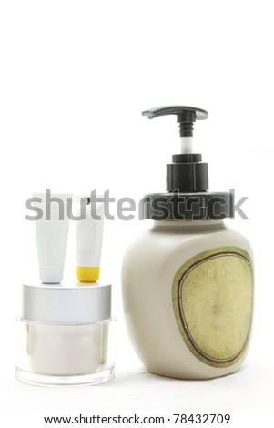 studio shot of set of beauty cosmetic cream over white background using in spa treatment - stock photo
