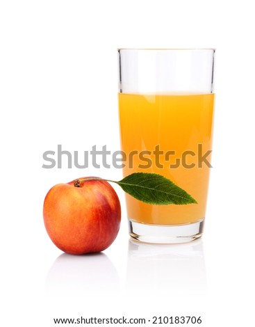 Studio shot of sliced orange nectarine with leaf and apricot juice isolated on a white background