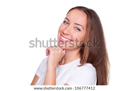 studio shot of smiley beautiful woman. isolated on white background - stock photo