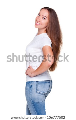 studio shot of smiley woman with long hair in white t-shirt. isolated on white background - stock photo