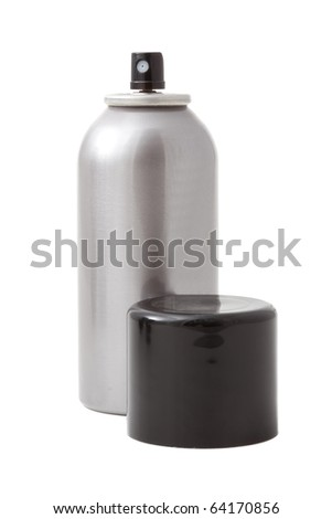 Studio shot of spray can isolated on white with cap - stock photo