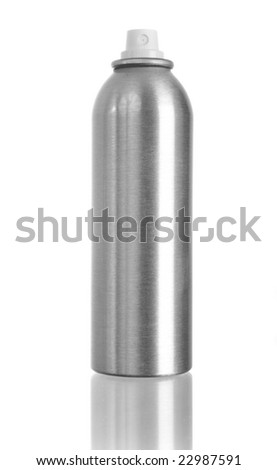 Studio shot of spray can isolated on white with reflection on bottom
