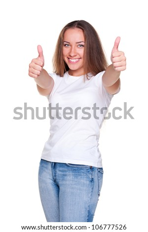 studio shot of successful woman in white t-shirt. isolated on white background - stock photo