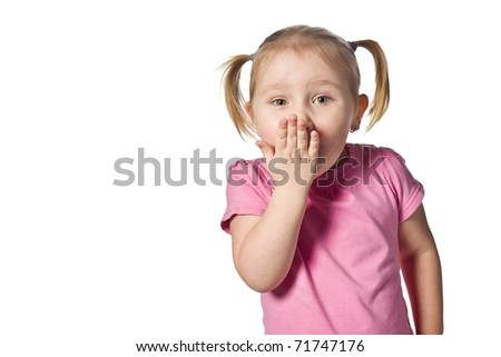 studio shot of surprised girl - stock photo