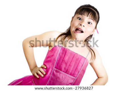 Studio shot of surprised girl wearing fancy dress - Isolated on white