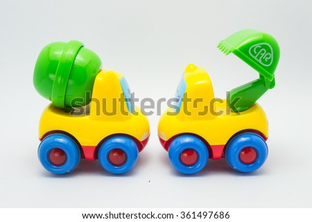 Studio shot of the Colorful Toy Car,Plastic car