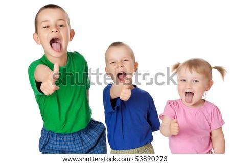 studio shot of three siblings - stock photo