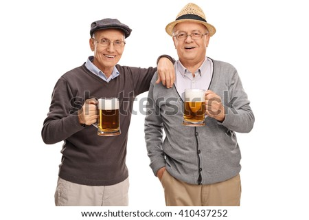 Studio shot of two old friends posing together and drinking beer isolated on white background - stock photo