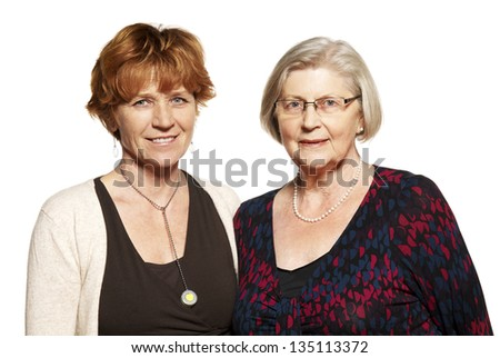 Studio shot of two women. Mother and Daughter.