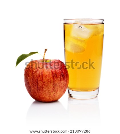 Studio shot of wet red whole apple with leaf,water drops and apple juice with ice isolated on a white background