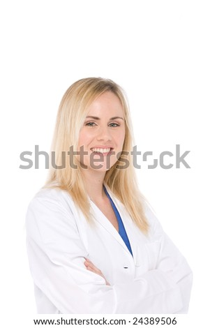 Studio shot of woman doctor isolated on white - stock photo