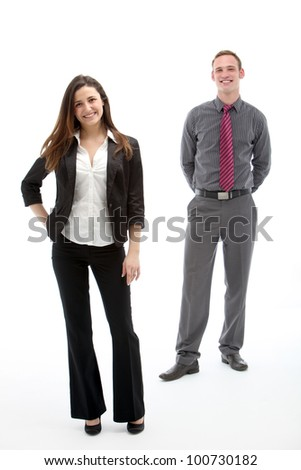 Studio shot of young bussines partners on white background - stock photo