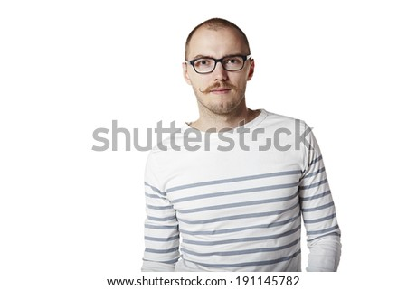 Studio shot of young man isolated on white background. Copy space. - stock photo