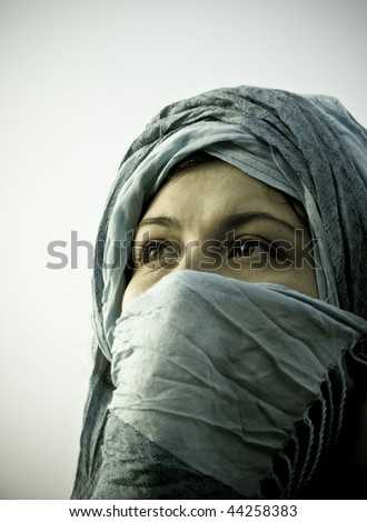 studio shot of young Muslim girl - stock photo
