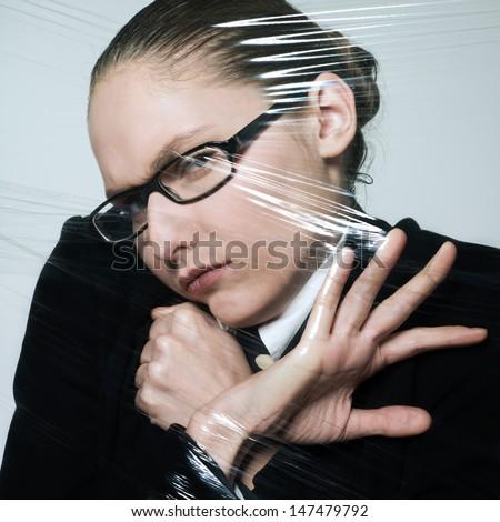 studio shot portrait business woman under pressure - stock photo