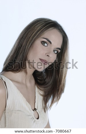 studio shot portraits of a young and cute smiling woman on a white background - stock photo