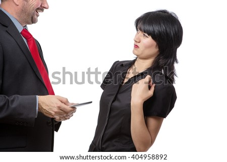 Studio shot showing co worker holding a mobile device with bad breath, isolated on white  - stock photo