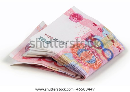 Studio shot with Chinese one hundred yuan notes