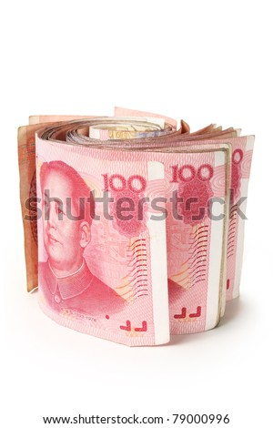 Studio shot with roll of Chinese one hundred notes - stock photo