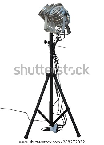 Studio spotlight lighting equipment isolated on white background - stock photo