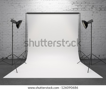 studio with a light set-up and backdrop - stock photo