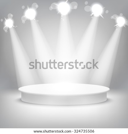 Studio with a podium and spotlights grey show light art