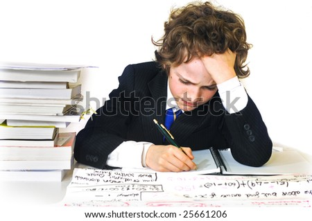 studious school boy - stock photo