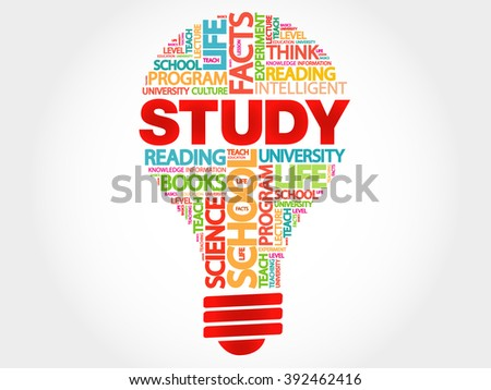 STUDY bulb word cloud, business concept - stock photo