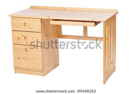 Study desk isolated over white, with clipping path - stock photo