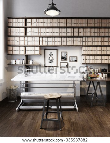 Study office with architectural table - 3 d render using 3 d s Max - stock photo