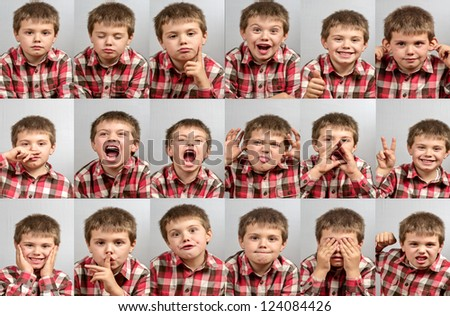 study session with the child of a thousand faces - stock photo