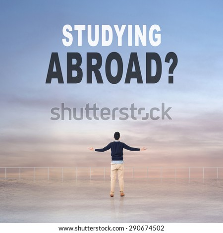 Studying Abroad? Text on the sky. - stock photo
