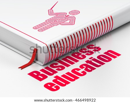 Studying concept: closed book with Red Teacher icon and text Business Education on floor, white background, 3D rendering