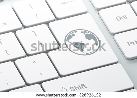 Studying concept: Enter button with Globe on computer keyboard background, 3d render - stock photo