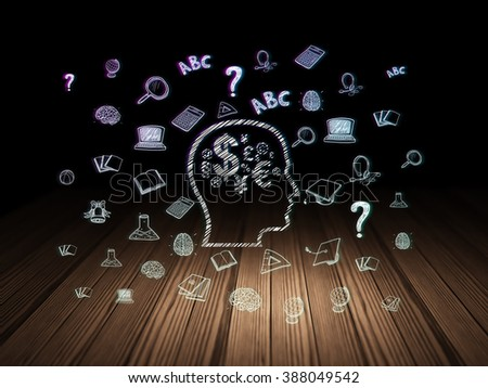 Studying concept: Head With Finance Symbol in grunge dark room - stock photo