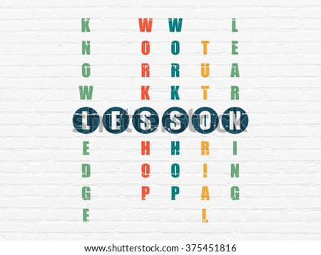 Studying concept: Lesson in Crossword Puzzle - stock photo