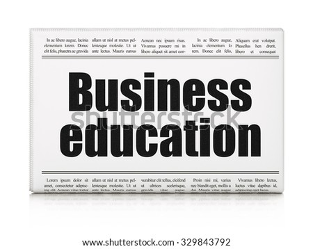 Studying concept: newspaper headline Business Education on White background, 3d render - stock photo