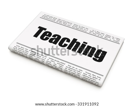 Studying concept: newspaper headline Teaching on White background, 3d render - stock photo