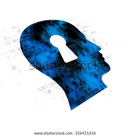 Studying concept: Pixelated blue Head With Keyhole icon on Digital background - stock photo
