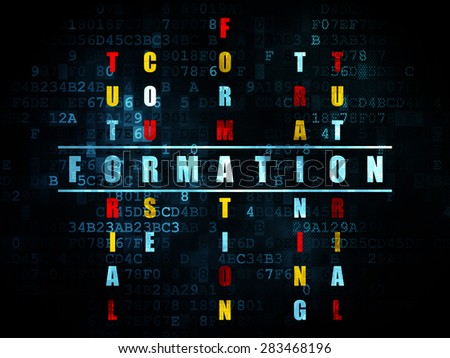 Studying concept: Pixelated blue word Formation in solving Crossword Puzzle on Digital background, 3d render - stock photo
