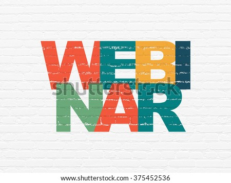 Studying concept: Webinar on wall background - stock photo
