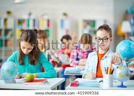 Studying in school - stock photo