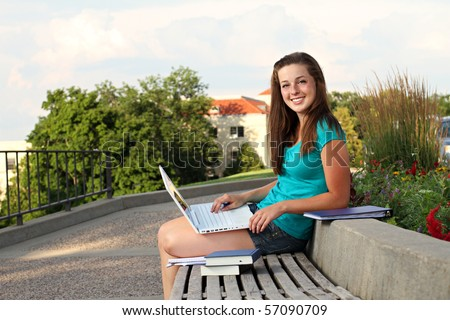 Studying outside on a nice day - stock photo