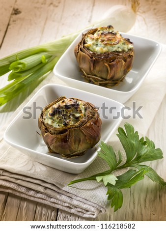 stuffed artichoke, vegetarian food - stock photo