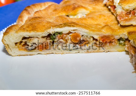 stuffed bread with tomato and chiles high - stock photo