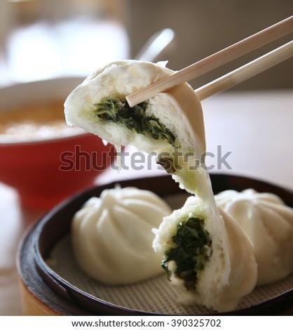 stuffed bun closeup , chinese traditional snacks - stock photo