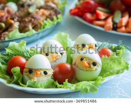 Stuffed eggs. - stock photo