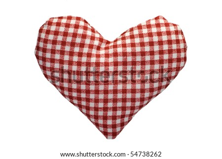 Stuffed gingham heart with a red pattern